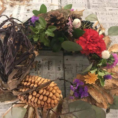 トド松樹皮で作るドライリースのイメージ